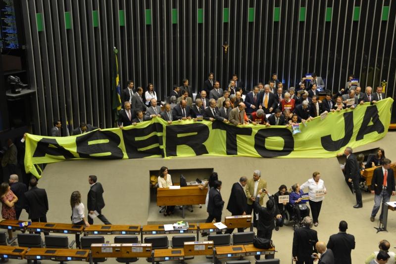 Brasília, 03/09/2013 – A Frente Parlamentar em Defesa do Voto Aberto fez manifestação pela aprovação da proposta de emenda à Constituição (PEC) que institui o voto aberto