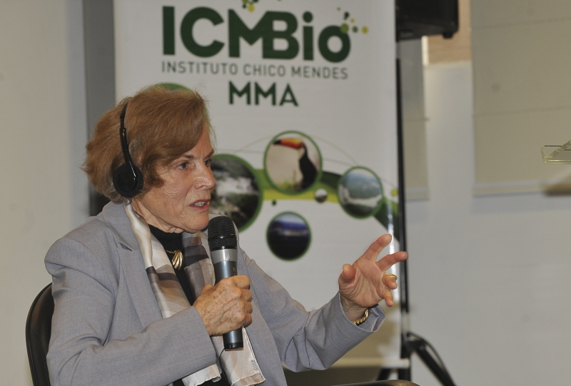 Brasília - A oceanógrafa Sylvia Earle faz palestra sobre os ecossistemas marinhos, na sede do Instituto Chico Mendes de Conservação da Biodiversidade (ICMBio). Foto de Valter Campanato/ABr