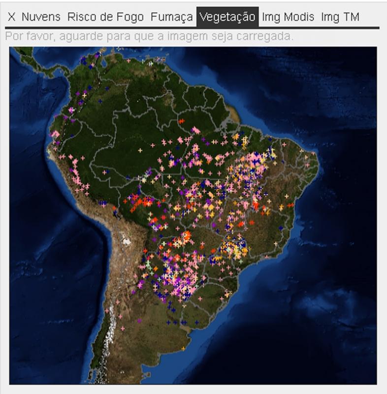 Monitoramento de queimadas e incêndios por satélite. Fonte Inpe