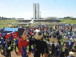 Manifestantes ocupam gramado do Congresso para protestar contra aprovação do novo Código Florestal