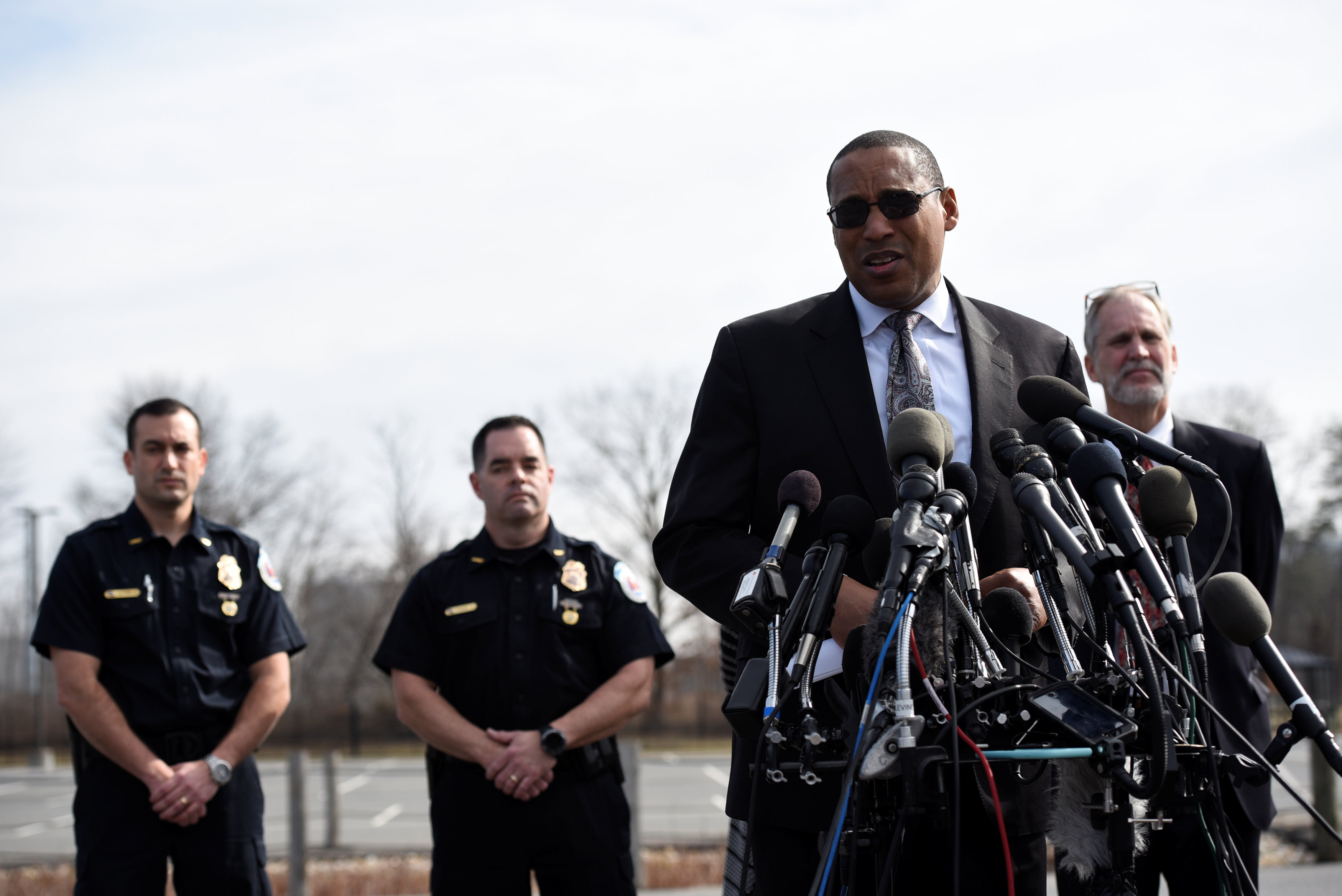 FBI Special Agent in Charge Gordon Johnson speaks at a news conference after a shooting outside the National Security Agency (NSA) headquarters in Fort Meade, Maryland, U.S. February 14, 2018.