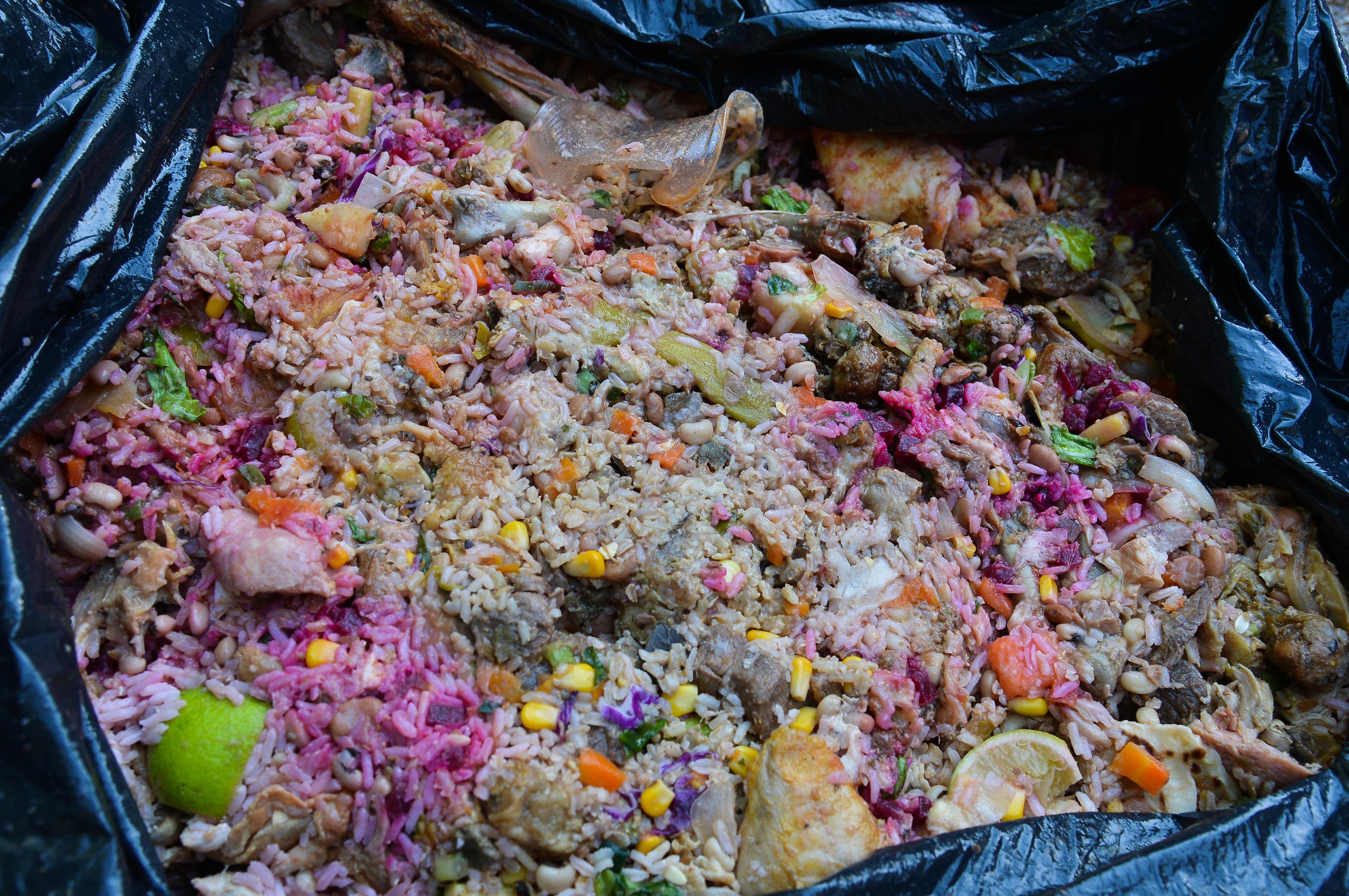 Comida jogada no lixo