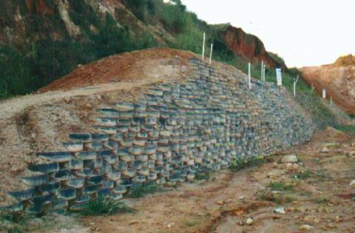 Scrap tires could be used for building slope retaining walls