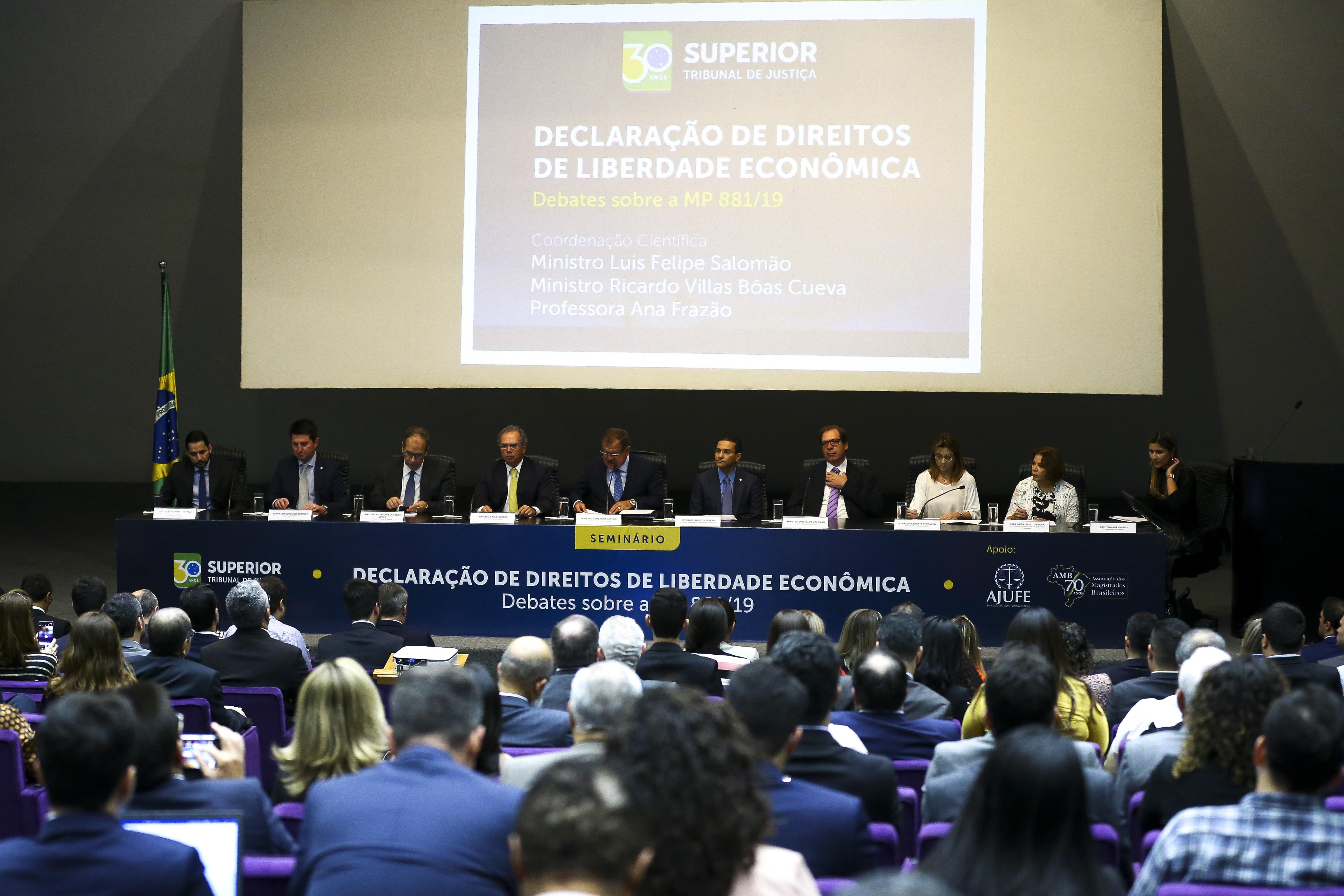 O Ministro da Economia, Paulo Guedes, durante o Seminário Declaração de Direitos de Liberdade Econômica - Debates sobre a MP 881/19.
